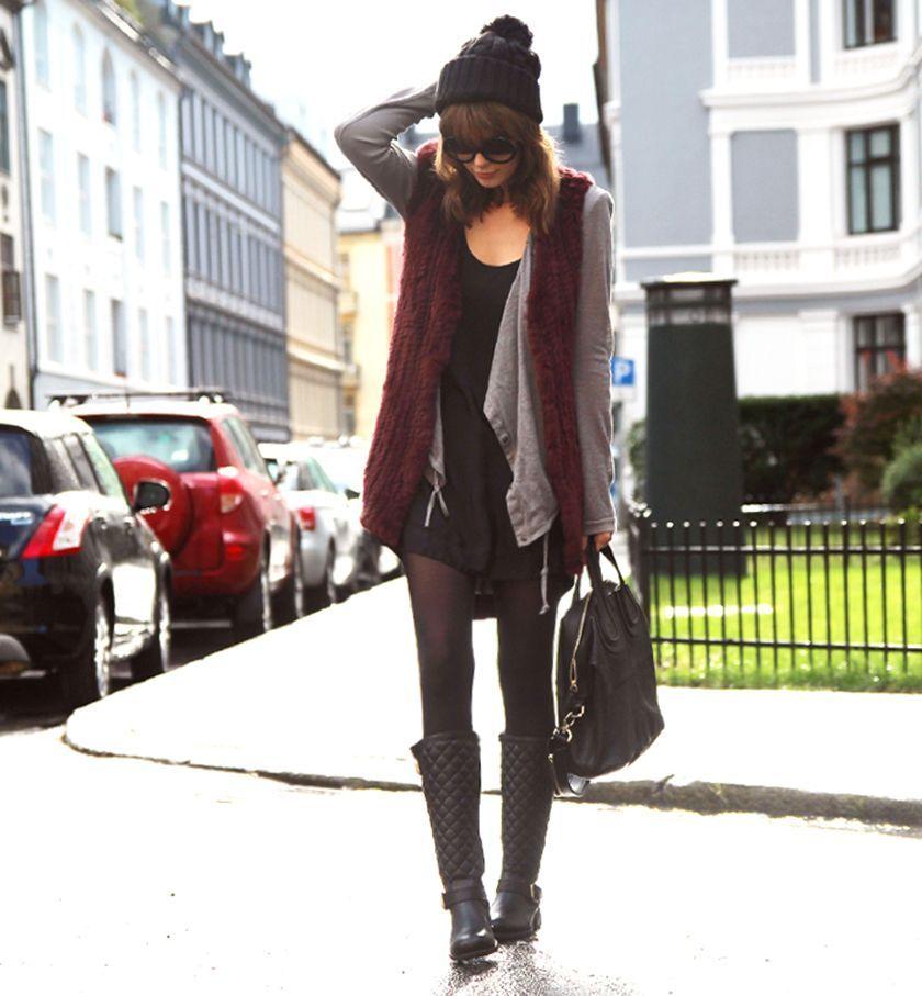 Topshop dress, Helmut Lang cardigan, Just Female vest, Bianco boots, Givenchy bag.