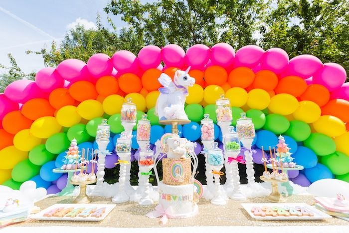 Gold Rainbow Unicorn Birthday Party Unicorn Themed Birthday