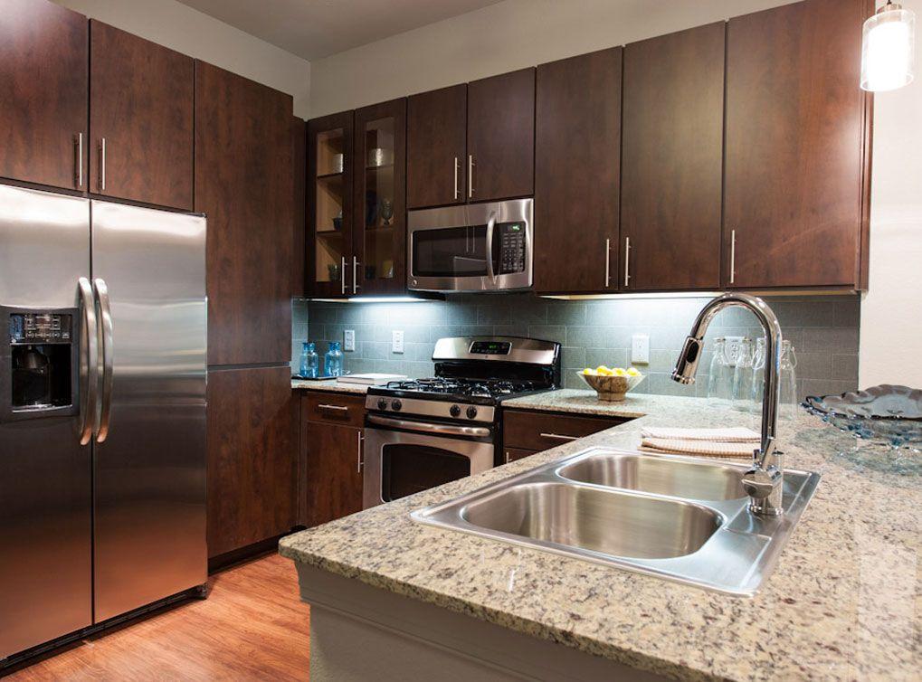 Model kitchen at AMLI Uptown, a luxury apartment