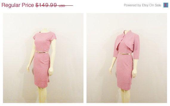 SALE Vintage Dress & Jacket 50s 60s Lavender Pink Wiggle Sheath Dress and Bolero Jacket Modern Size Medium