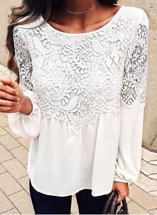7c5c840bc0c893 Solid Casual Cotton Round Neckline Long Sleeve Blouses - Floryday   floryday.com   womensfashionminimalistwhiteblouses