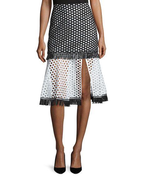 Alexis Elisa A-Line Eyelet Skirt, Black/White Circle, Women's, Size: Small…