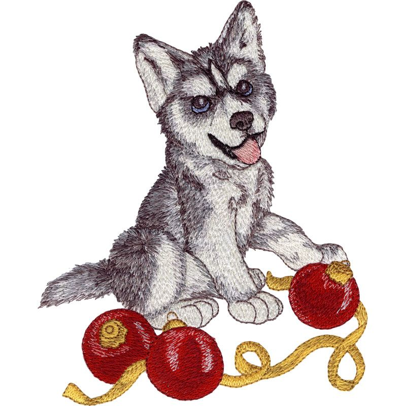 Husky puppy christmas puppy machine embroidery designs