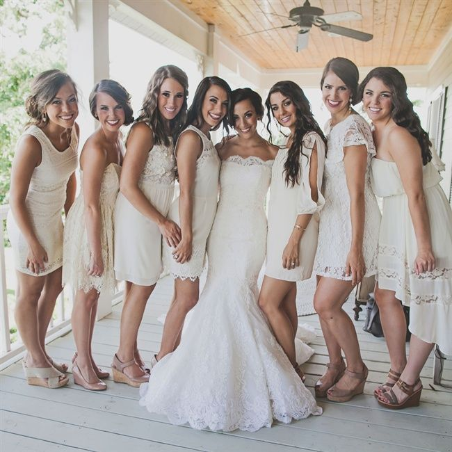 Wedding party pictures ivory dress