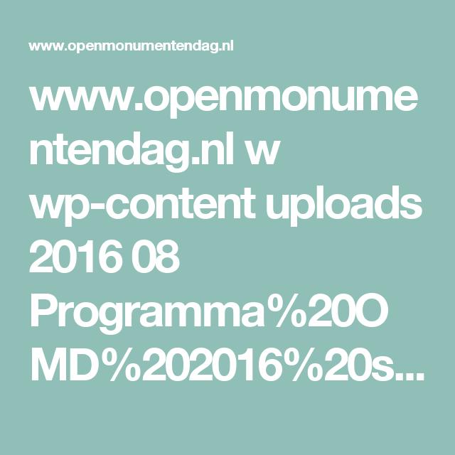 www.openmonumentendag.nl w wp-content uploads 2016 08 Programma%20OMD%202016%20site.pdf
