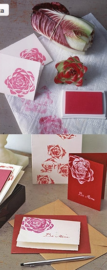 home made flowers on a card you can use food to make a card super pretty...good thinking!!!!! <3 It