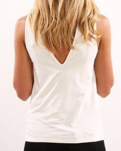 Best Plain Mock Turtleneck Sleeveless T Shirt For Ladies White 400 x 300