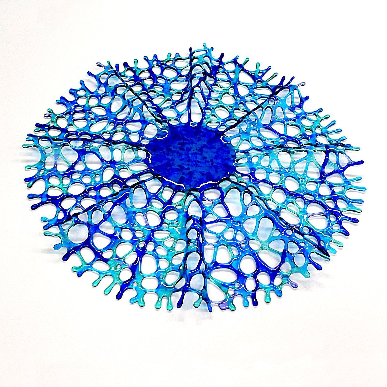 Fused glass art sea coral sculptured wall hanging in turquoise blue