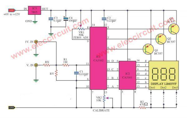 Digital voltmeter circuit diagram using ICL7107 / 7106 with PCB   Circuit  diagram, Digital circuit, Circuit