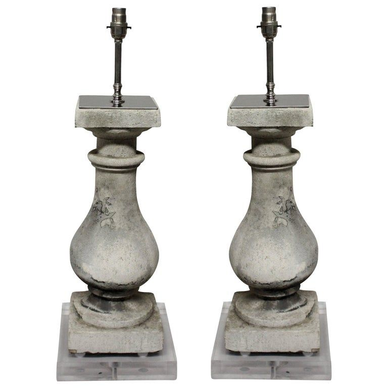 Pair Of Stone Balustrade Lamps On Perspex Bases