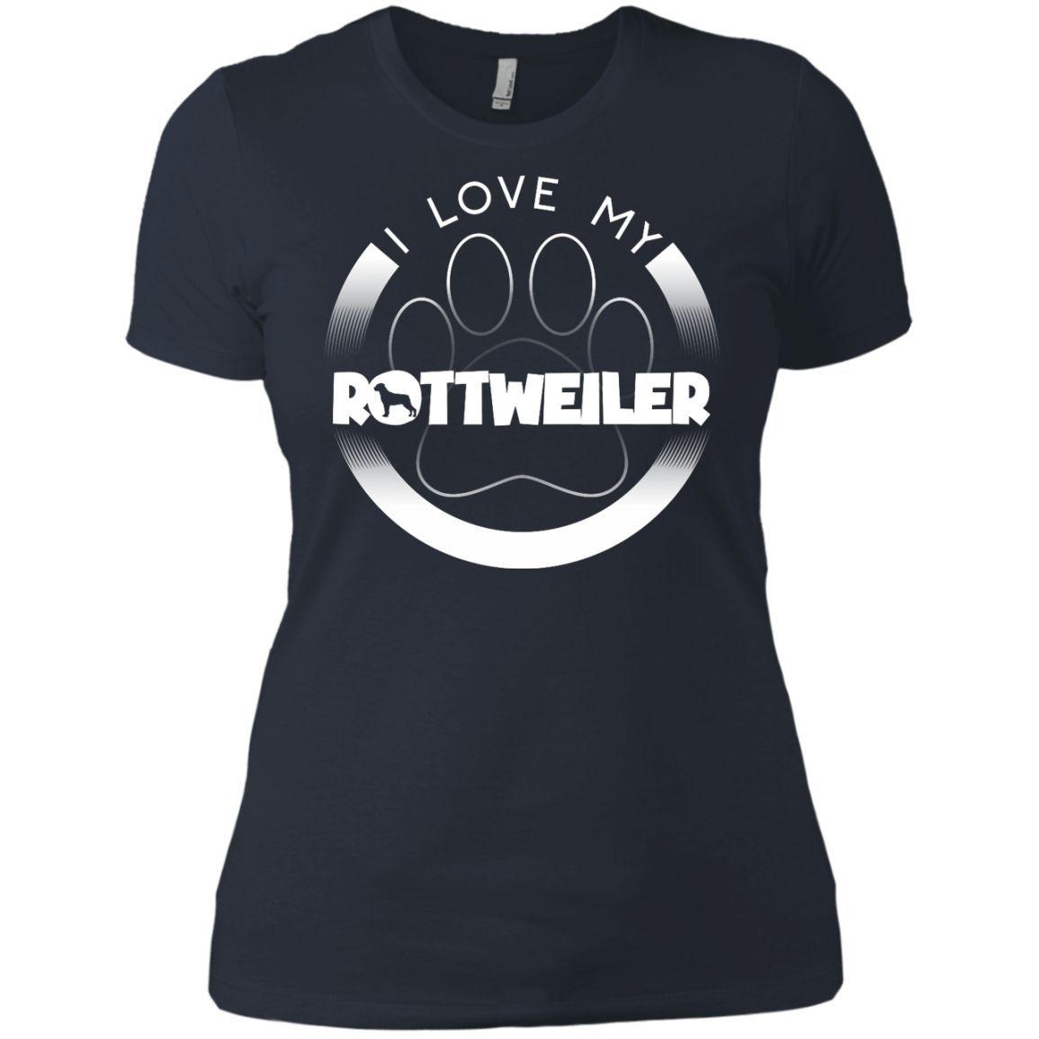 I LOVE MY ROTTWEILER (Paw Design) - Front Design - Next Level Ladies' Boyfriend Tee