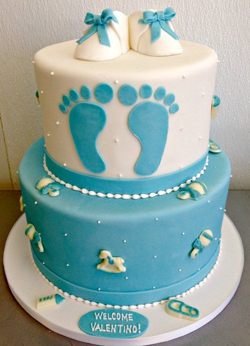 Baby Boy Baby Shower Cake Fondant Sculpted Booties Feet Safety Pin Bottle  Rattle Rocking Horse Piping