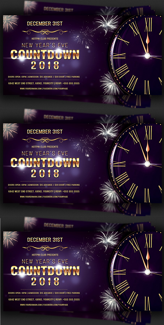 Nye Countdown Party Flyer Template in 2020 Party flyer
