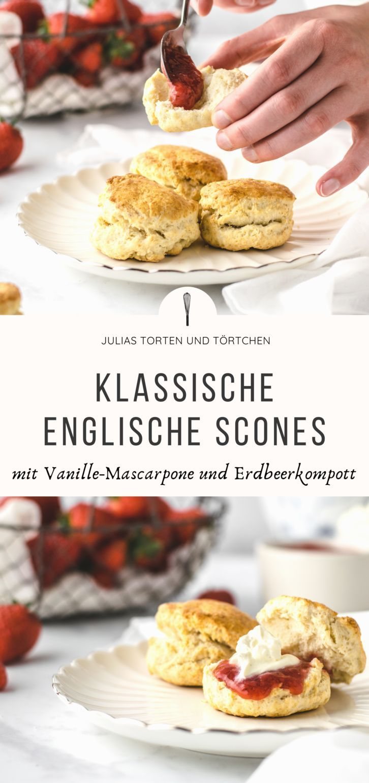 Photo of Klassische Scones mit Vanille-Mascarpone und Erdbeerkompott