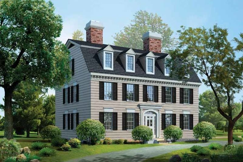 Classical Style House Plan 4 Beds 3 5 Baths 3965 Sq Ft Plan 72 818 Colonial House Plans Federal Style House Rectangle House Plans