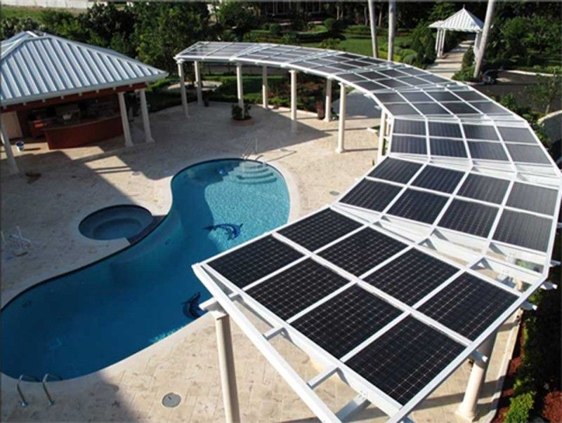 Futuristic Pergola Solar Roof Producing Energy To Help