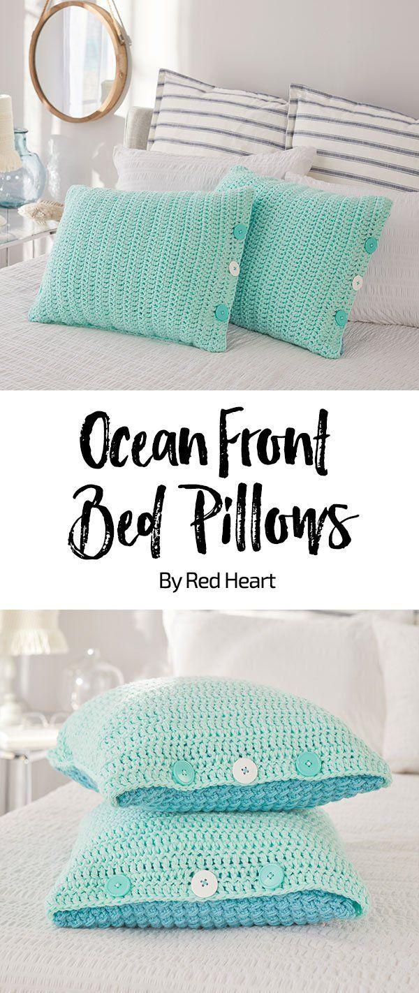 Ocean Front Bed Pillow free crochet pattern With Love yarn. Crochet ...
