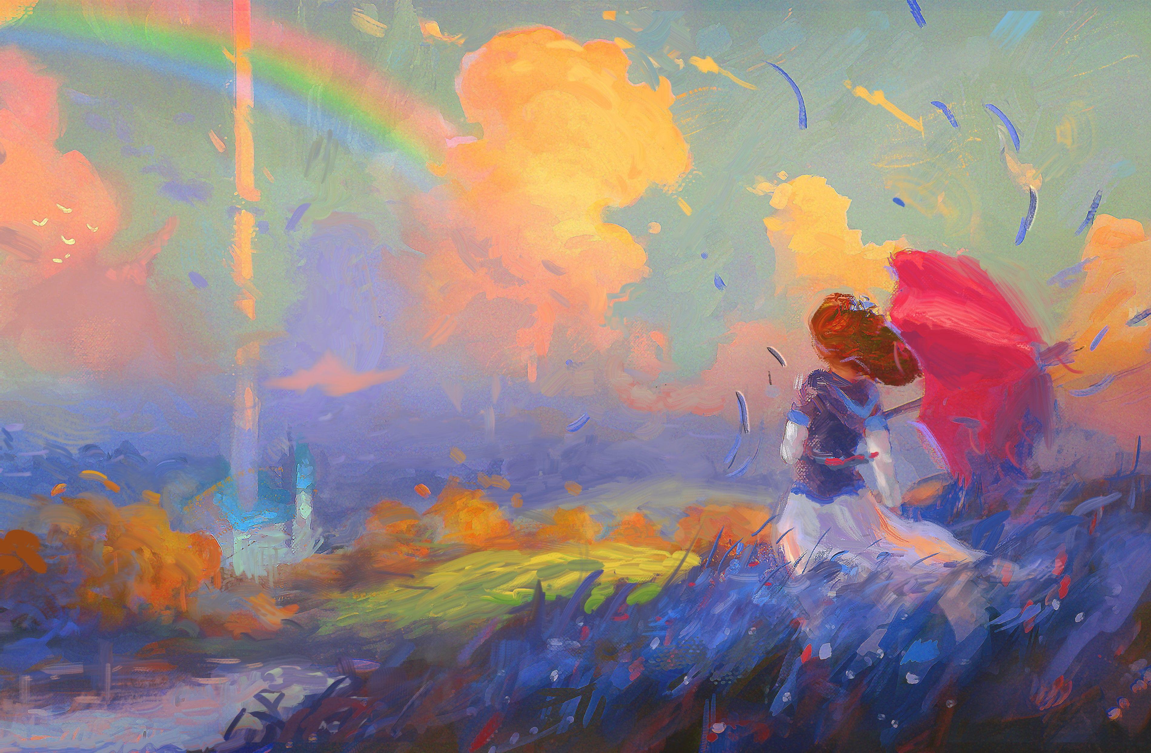 Alone 4k Paint Cute Girl 2k Wallpaper Hdwallpaper Desktop Painting Art Character Wallpaper Abstract artist artwork digital art hd