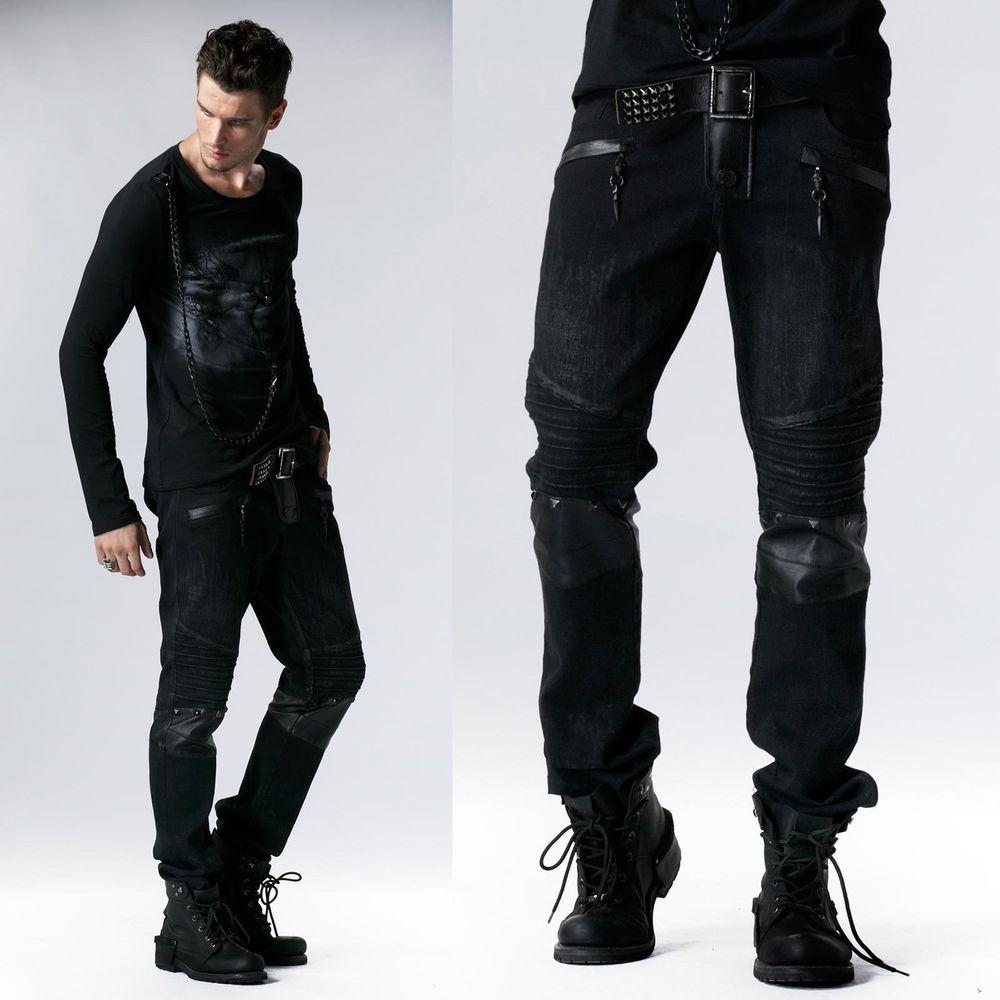 Mini Shorts Schwarze aus Kunstleder mit Große Taschen und Schnürung Punk Rave