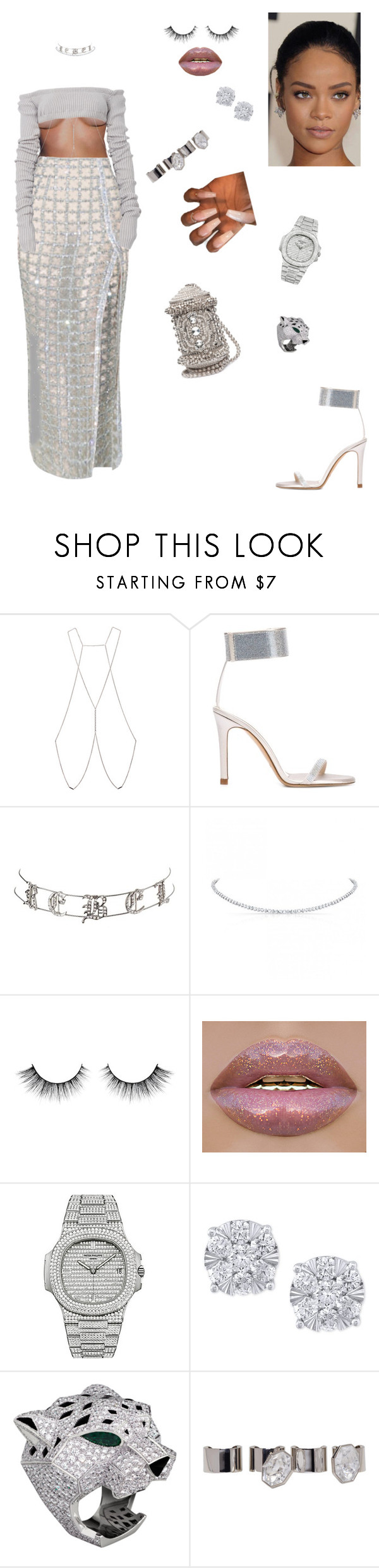 """Girls love bling💎"" by styledbystaes ❤ liked on Polyvore featuring Bliss Lau, Pedro García, Charlotte Russe, Patek Philippe, Effy Jewelry and Maison Margiela"