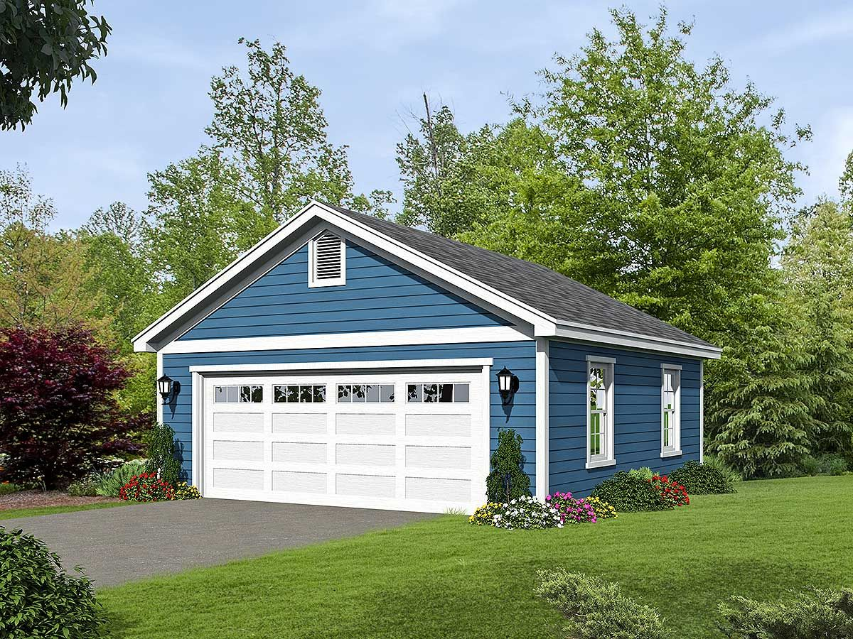 Plan 68470vr 2 Car Detached Garage Plan With Over Sized Garage Door Garage Plans Detached Garage Exterior Garage Plan