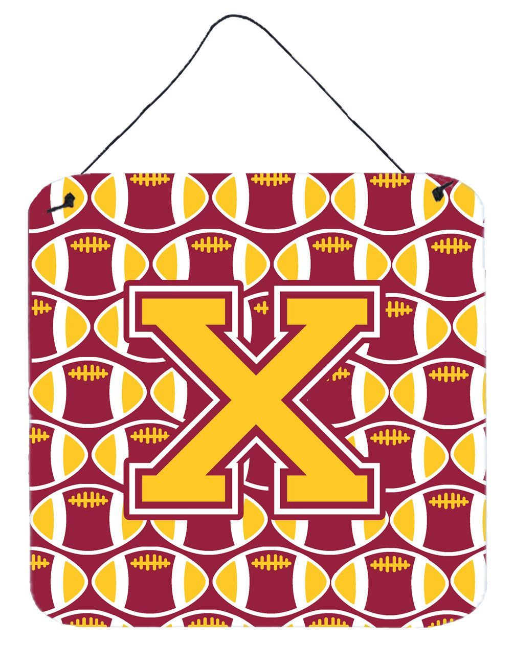 Letter X Football Maroon and Gold Wall or Door Hanging Prints CJ1081-XDS66
