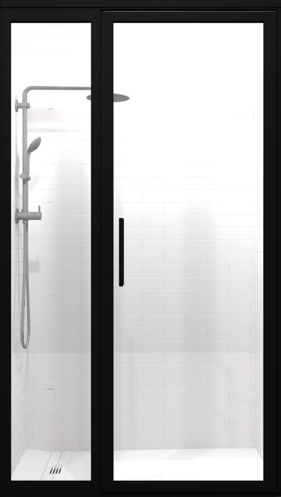 Gridscape Gs3 Swing Shower Door And Panel In Black With Clear Glass Shower Doors Coastal Shower Doors Framed Shower Door