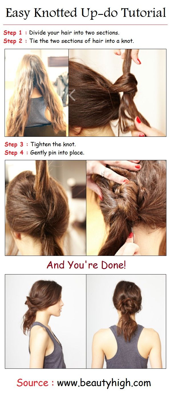Easy knotted updo tutorial pintutorials hair uc pinterest