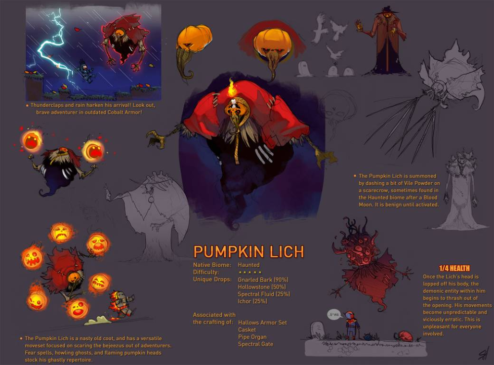 Terraria Boss Pumpkin Lich By Endling On Deviantart En 2020