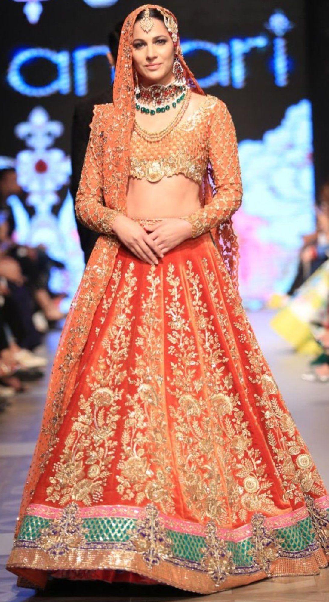 Bridal ghagra choli in beutifull reddish orange color