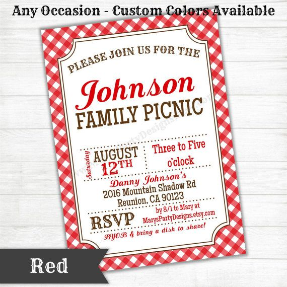 Any Occasion Picnic Bbq Gingham Invitation By Maryspartydesigns 15 00 Potluck Party Invitations Party Invite Design Western Invitations