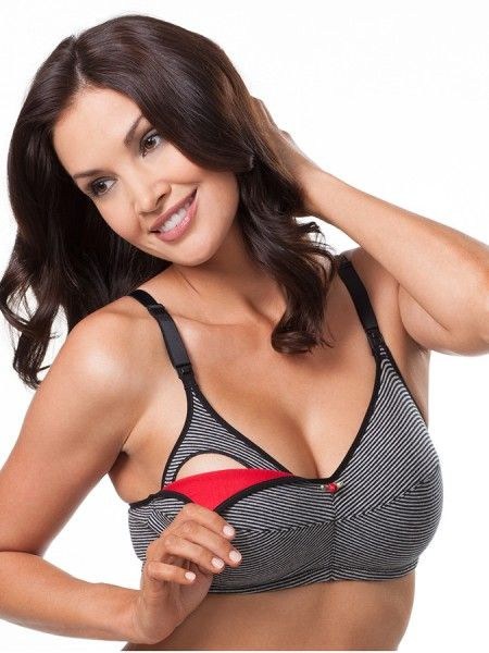 a38a492c7 4001 Cotton Wirefree Nursing Bra 2-Pack Black w Heather Gray Stripe. Love  the colors on this!