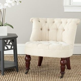 Safavieh En Vogue Carlin Natural Cream (Ivory) Tufted Chair (Cherry)