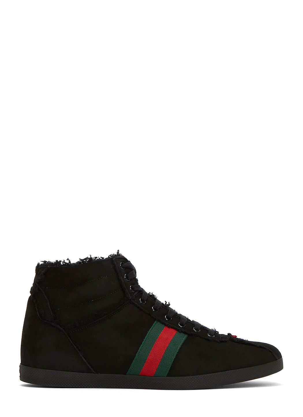 243c330cfff GUCCI Men s Shearling High-Top Suede Sneakers in Black.  gucci  shoes