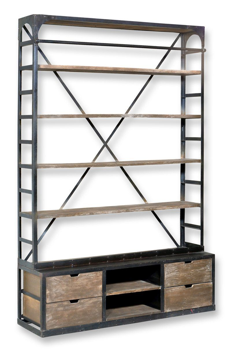 Amazon: Industrial Double Hutch Style Bookcase With Ladder