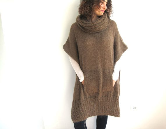 Brown Mohair Hand Knitted Poncho with Accordion Hood and by afra, $120.00