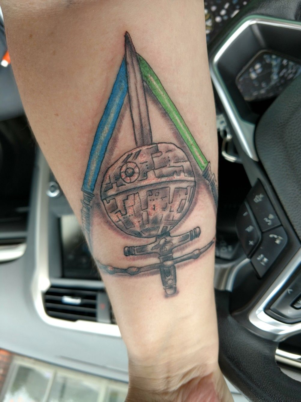 Harry Potter And Star Wars Deathly Hallows Mashup Tattoos Triangle Tattoo Deathly Hallows