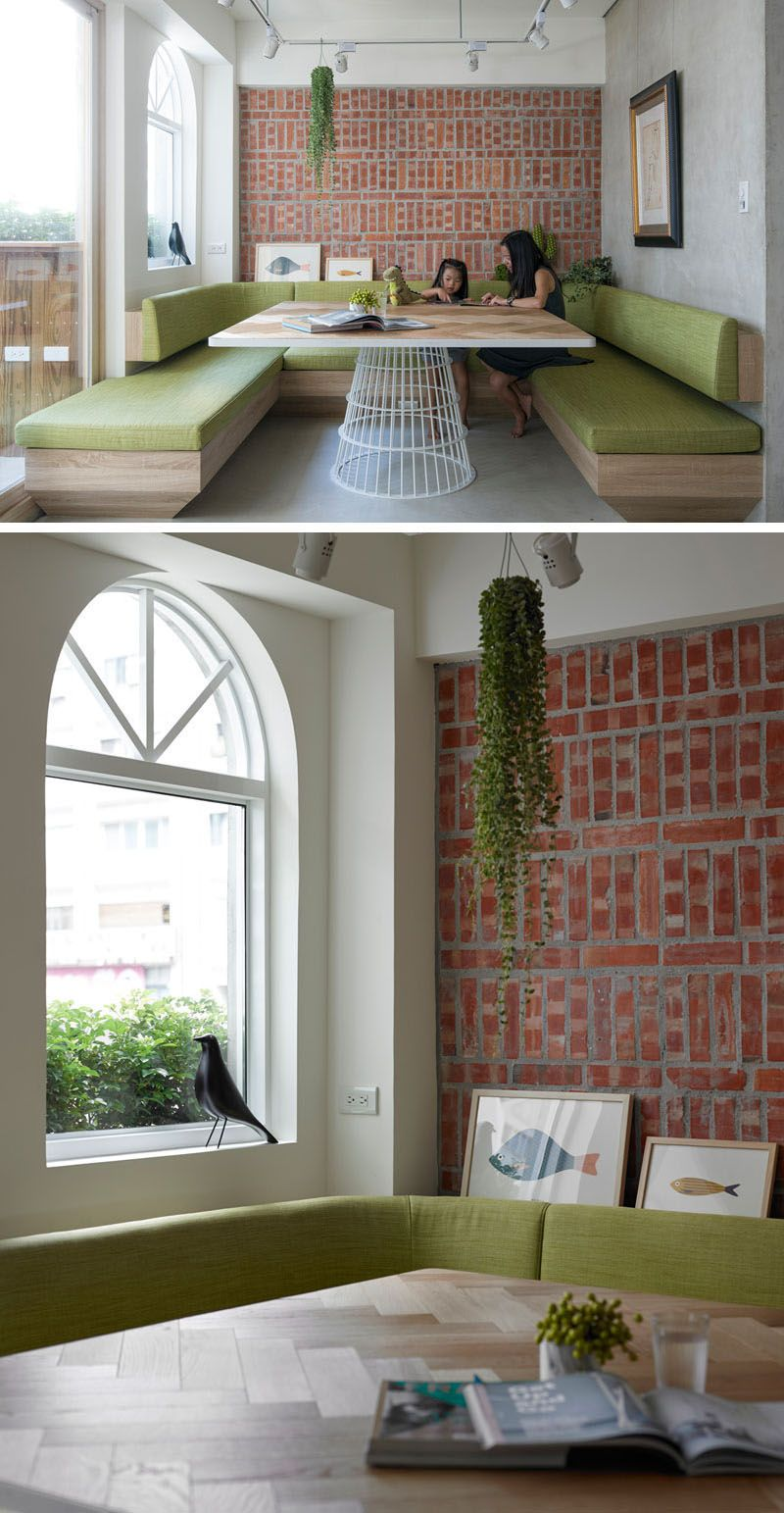 Dining Room Idea   Create A Built In Dining Nook (8 Pictures) | Light Wood  And Soft Green Cushions Soften Up The Brick Feature Wall, And Make This  Dining ...