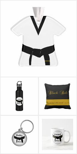 Personalize these Martial Arts Black Belt Gifts with the name of your martial artist and year