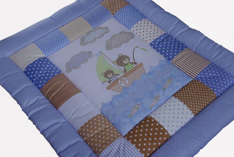 """Babydecken - Krabbeldecke """"Bären fischen"""" blau beige Pachwork - ein Designerstück von EuleLulu bei DaWanda"""