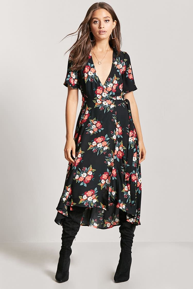robe florale portefeuille - robes - 2000218810 - forever 21
