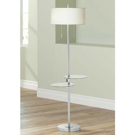 Floor Lamp With Movable Trays And Usb Charger Beach House