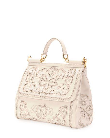 Miss Sicily Leather Lace Satchel Bag, White