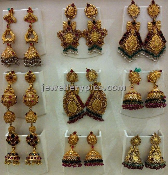 Antique Gold Jhumka Earrings | bridal gold earrings jhumka ...
