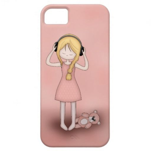 Whimsical Young Girl with Music Headphones #iPhone 5 Covers #cute #pink