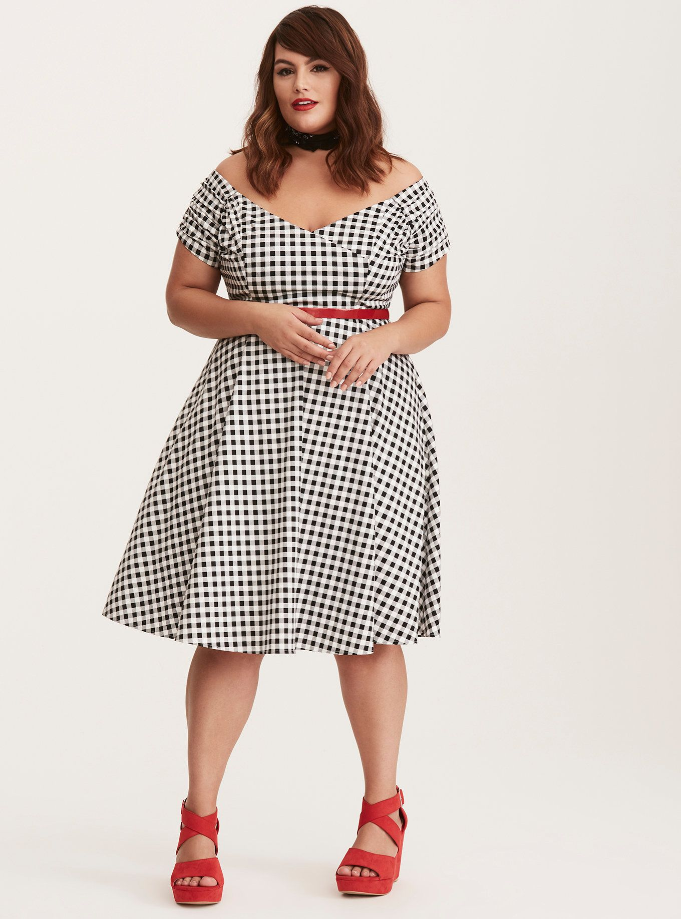 914123547b35 It doesn t get much sweeter than this swing dress! The fitted bodice is  flirtier than ever with off shoulder sleeves and slightly shirred details.