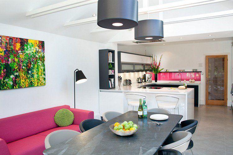 Cuisine en U ouverte pour tout espace- 60 photos et conseils Open - plan salon cuisine sejour salle manger