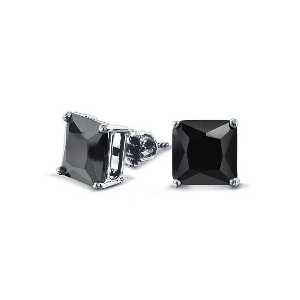 Bling Jewelry Cz Princess Cut Black Sterling Silver Back Stud Earrings