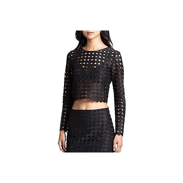 Alexis Frederick Cutout Embroidered-Dot Top ($45) ❤ liked on Polyvore featuring tops, embroidered black, cut out long sleeve top, sheer embroidered top, alexis tops, polka dot tops and see through tops