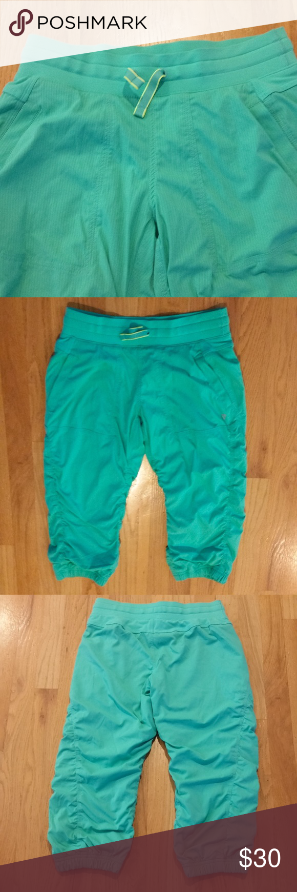 Ivivva by Lululemon Lined cropped pant Cropped and lined Ivivva by Lululemon pant. Color is mint green with fluorescent yellow accent on drawstring. Girls size 14 (women's size 4). 94% nylon, 6% spandex. These are in like new condition. Ivivva Pants